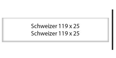 Schweizer 119 x 25, weiss, inkl. Gravur Briefkastenschild